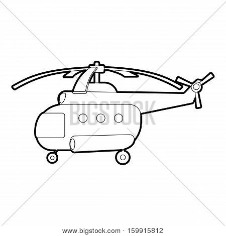 Helicopter icon. Outline illustration of helicopter vector icon for web