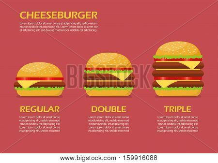 Three hamburgers set infographic. From simple hamburger to double and triple cheeseburger with tomato