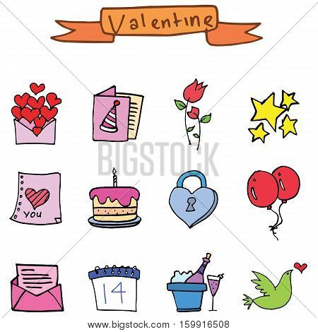 Vector art valentine set element collection stock