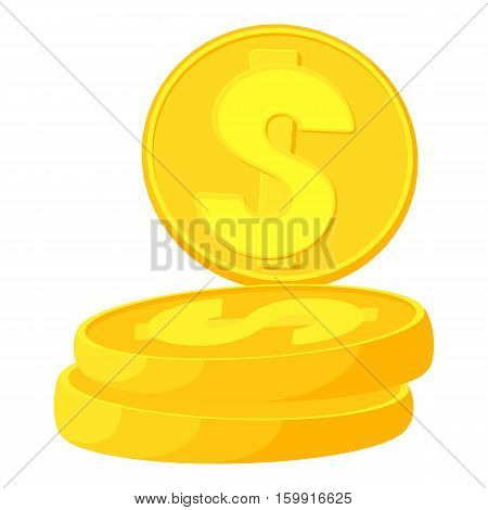 Coins icon. Cartoon illustration of coins vector icon for web
