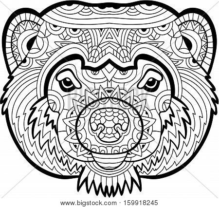 Monochrome drawing of a Wolverine with patterns. Coloring page for adults. Line art.