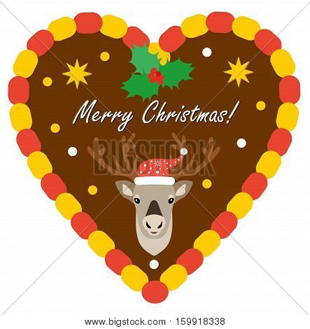 Christmas traditional gingerbread with reindeer. Flat style illustration. Gingerbread hearts decorated with icing and head of reindeer.