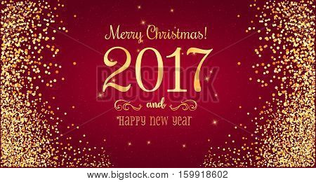 Christmas 2017 and New Year typographical on red background with gold firework. Xmas card. Vector Illustration