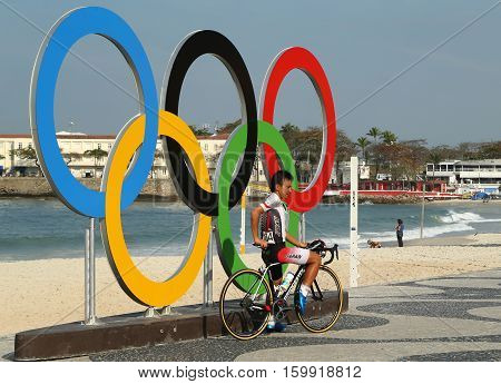 RIO DE JANEIRO, BRAZIL - AUGUST 6, 2016: Cyclist Kohei Uchima of Japan after finish Rio 2016 Olympic Cycling Road competition of the Rio 2016 Olympic Games in Rio de Janeiro