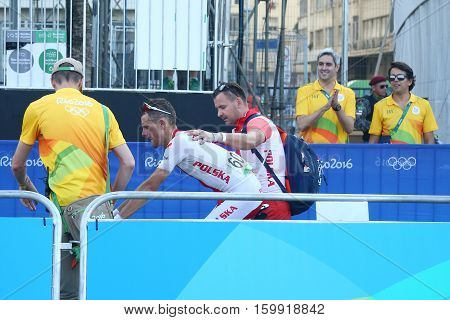 RIO DE JANEIRO, BRAZIL - AUGUST 6, 2016: Bronze medalist Rafal Majka of Poland  after finish Rio 2016 Olympic Cycling Road competition of the Rio 2016 Olympic Games in Rio de Janeiro