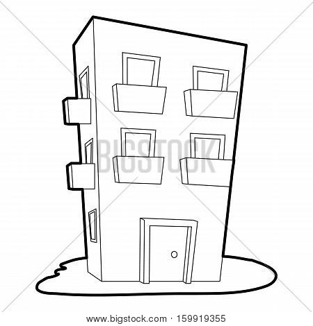 Dwelling house icon. Outline illustration of dwelling house vector icon for web