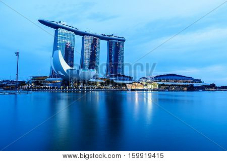 Singapore - Nov 22, 2016: The Marina Bay Sands Resort Hotel On Nov 22, 2016 In Singapore. It Is An I