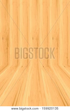 Room made of natural wood background .