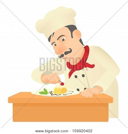 Pastry chef icon. Cartoon illustration of pastry chef vector icon for web