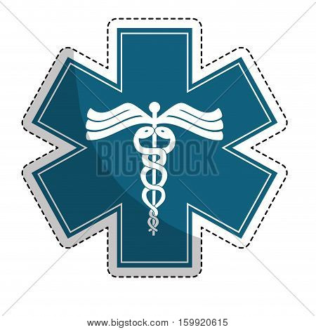 sticker of caduceus medical symbol icon over white background. colorful design. vector illustration