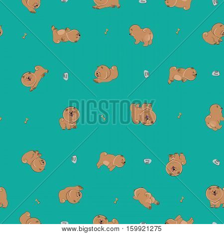 Happy puppies. Seamless pattern. Green background. Brown cartoon chow-chow dogs pets