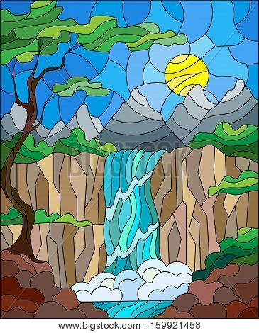 Illustration in stained glass style landscape the tree on the background of a waterfall mountains sun and sky