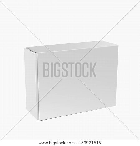 White Product Package Box Illustration Isolated On White Background Mock Up Template For Your Design