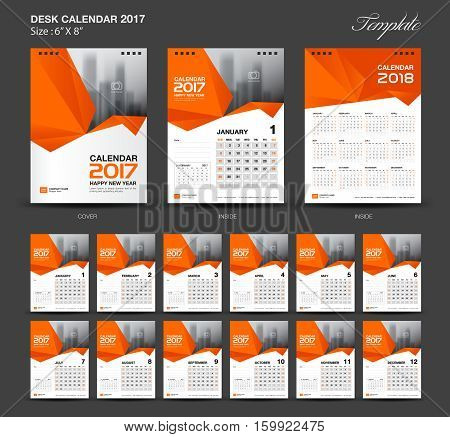 Set Orange Desk Calendar 2017 year size 6 x 8 inch template, Set of 12 Months, Week Starts Monday, flyer design