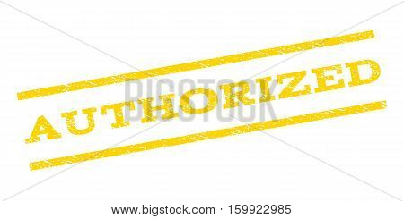 Authorized watermark stamp. Text caption between parallel lines with grunge design style. Rubber seal stamp with unclean texture. Vector yellow color ink imprint on a white background.