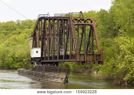 A swing bridge on the Mississippi River in Saint Paul, Minnesota.
