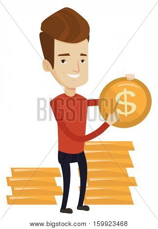Caucasian successful businessman with dollar golden coin in hands. Successful businessman holding golden coin. Business success concept. Vector flat design illustration isolated on white background.