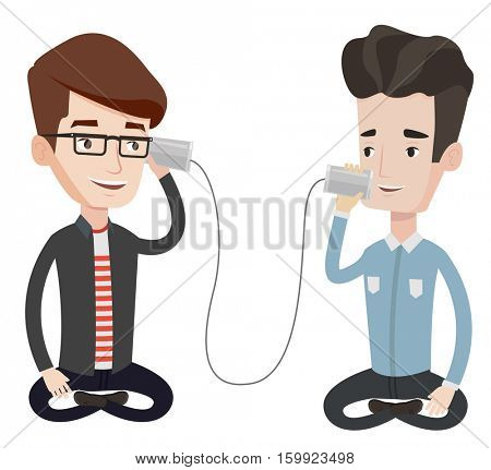 Men discussing something using tin can telephone. Guy getting message from friend on tin can phone. Friends talking through a tin phone. Vector flat design illustration isolated on white background.