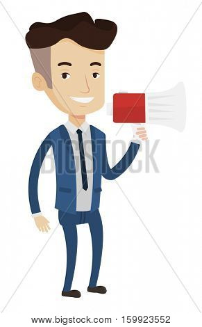 Businessman promoter holding megaphone. Social media marketing concept. Man speaking into megaphone. Man advertising using megaphone. Vector flat design illustration isolated on white background.