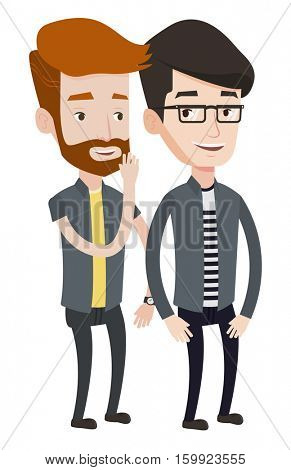 Hipster caucasian man shielding his mouth and whispering a gossip to his friend. Two happy men sharing gossips. Friends discussing gossips. Vector flat design illustration isolated on white background