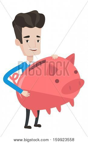 Caucasian cheerful businessman with a piggy bank. Happy businessman holding a big piggy bank . Businessman saving money in a piggy bank. Vector flat design illustration isolated on white background.
