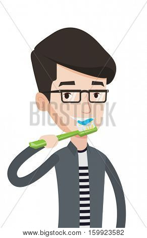 Young caucasian man brushing his teeth. Smiling man cleaning teeth. Man taking care of her teeth. Man with toothbrush in hand. Vector flat design illustration isolated on white background.