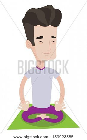 Young man meditating in yoga lotus pose. Caucasian sportsman relaxing in the yoga lotus position. Sporty man doing yoga on the mat. Vector flat design illustration isolated on white background.