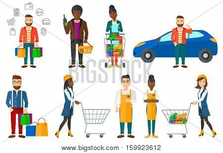 Cheerful man holding shopping bags. Happy young man carrying shopping bags. Smiling man standing with a lot of shopping bags. Set of vector flat design illustrations isolated on white background.