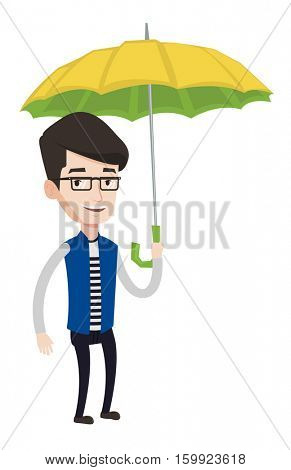 Caucasian cheerful insurance agent. Insurance agent standing safely under umbrella. Business insurance and business protection concept. Vector flat design illustration isolated on white background.