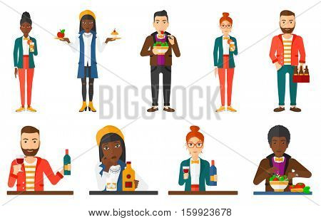 Cheerful man drinking red wine. Happy man holding glass of red wine. Man tasting a glass of red wine. Man toasting with red wine. Set of vector flat design illustrations isolated on white background.