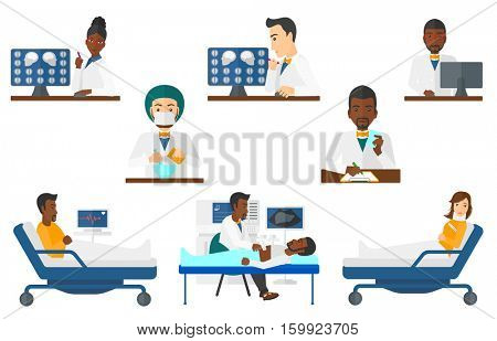 Male doctor looking at magnetic resonance images of the brain on a computer screen. Doctor analyzing magnetic resonance image. Set of vector flat design illustrations isolated on white background.