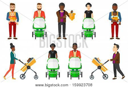 Young mother walking with baby in stroller. Smiling mother pushing baby stroller. Young happy father walking with baby in sling. Set of vector flat design illustrations isolated on white background.