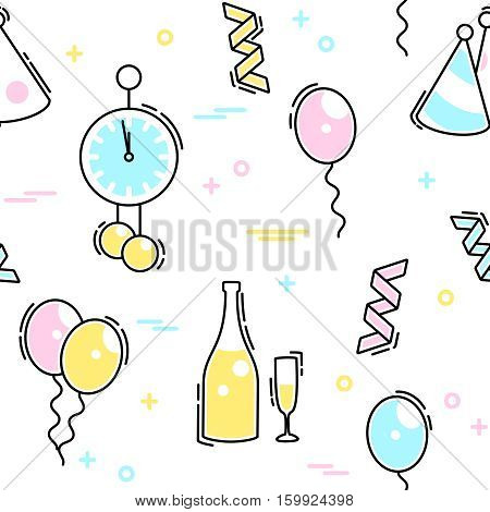 Thin line style seamless pattern with a new year's eve theme. Graphics are grouped and in several layers for easy editing. The file can be scaled to any size.