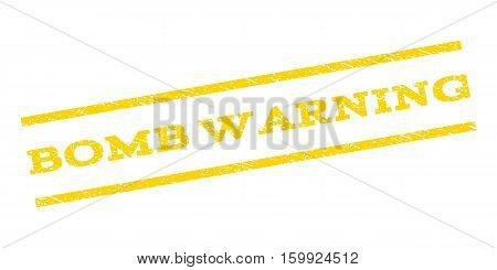 Bomb Warning watermark stamp. Text tag between parallel lines with grunge design style. Rubber seal stamp with scratched texture. Vector yellow color ink imprint on a white background.