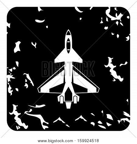 Military aircraft icon. Grunge illustration of military aircraft vector icon for web