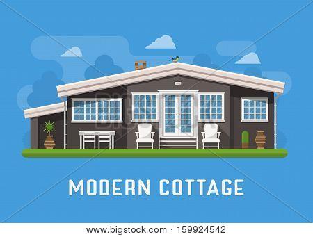 Modern cottage on rural background. Family summer house. Minimalist home building in scandinavian design. Rural house landscape vector illustration for rental or real estate agency.