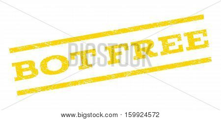 Bot Free watermark stamp. Text tag between parallel lines with grunge design style. Rubber seal stamp with scratched texture. Vector yellow color ink imprint on a white background.