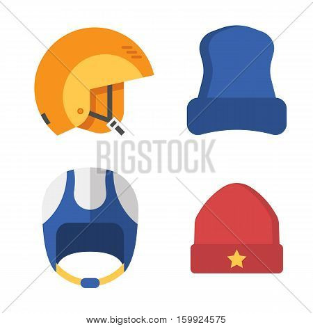 Skiing and snowboarding helmets and caps. Snowboarder protective hat in outline design. Winter headgear isolated on white background.
