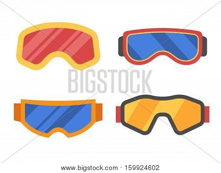 Snowboard or ski goggles collection in flat design. Skiing or snowboarding face protection glasses vector icon. Winter sport goggle set.