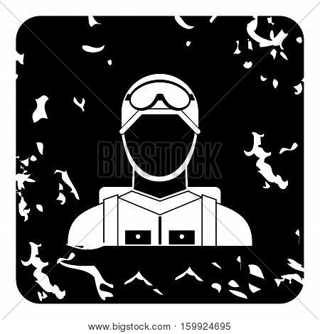 Paratrooper icon. Grunge illustration of paratrooper vector icon for web