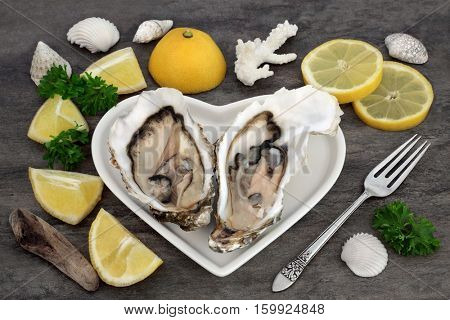 Oysters on a heart shaped plate with lemon fruit, parsley, an antique silver fork, shells and driftwood on marble.