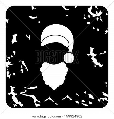 Hat and curly beard of Santa Claus icon. Grunge illustration of hat and curly beard of Santa Claus vector icon for web