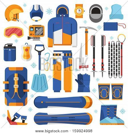 Snowboarding suit, avalanche rescue kit and winter sport essentials. Snowboard equipment vector elements. Winter sports and activity set.