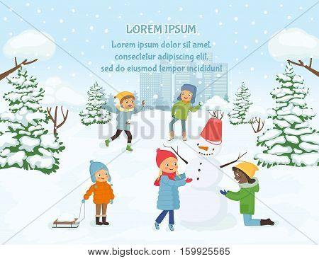 Children playing outside on the background of snowy city. Vector illustration