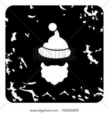 Christmas hat pompom and beard of Santa Claus icon. Grunge illustration of Christmas hat pompom and beard of Santa Claus vector icon for web