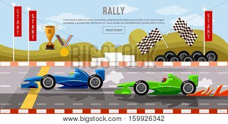 Car racing banner motor racing cars on a start line racing bolides formula car speeding racing in cars tyre drift on race circuit finish line vector