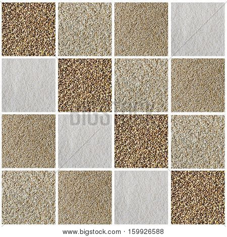 Collage consisting of different type of cereals flakes seeds grains. Quinoa cut wheat semolina and buckwheat. Healthy lifestyle concept. Food textured background.