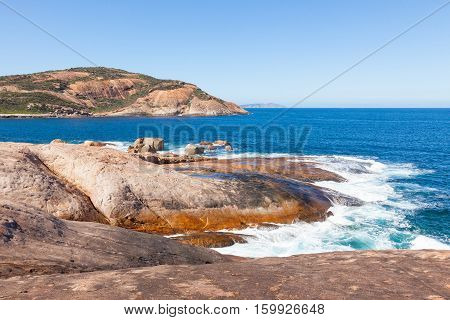 Coastal landscape at Whistling Rock in Cape Le Grand National Park near the town of Esperance in Western Australia.