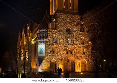 Details of Church of Sts. George in Sopot at night. Church was building in neo-gothic style in 1901 originally temple protestant and since 1945 catholic.