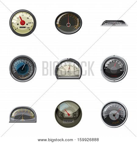 Types of speedometers icons set. Cartoon illustration of 9 types of speedometers vector icons for web